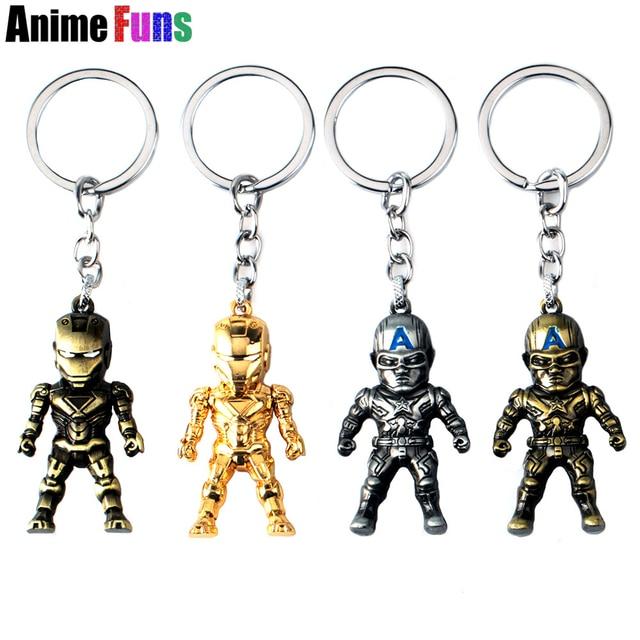 Hot Movie Iron Man Captain America 3D Model Keyring Marvel Alloy Key Chain Charm Limited Souvenir Gift drop-shipping
