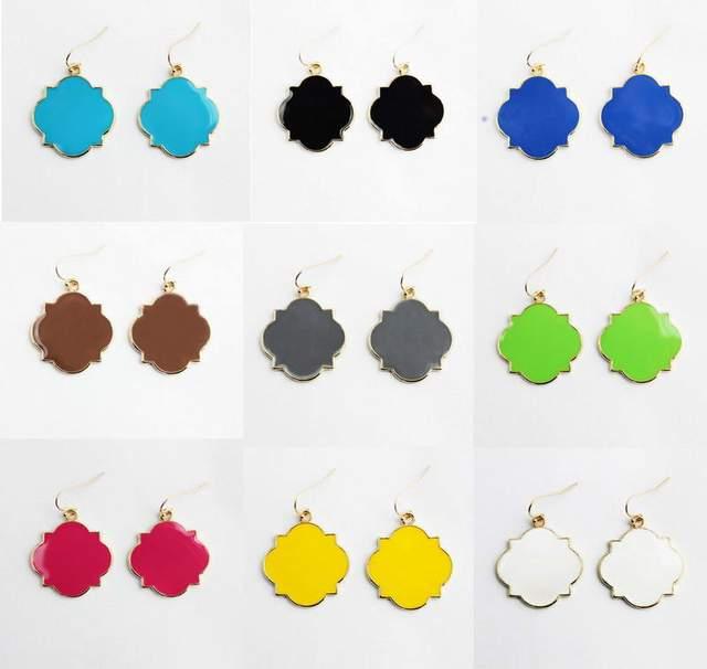 ZWPON Personalized Enamel Blanks Monogram Clover Drop Earrings 2018 Women's Fashion Earrings Jewelry Wholesale