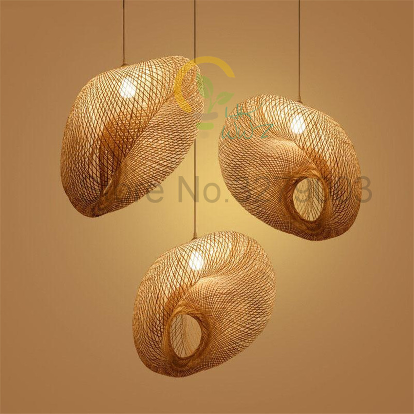 Dia 60cm Originality Rattan Art Handmade Bamboo Weaving Special-Shaped Pendant Lights Restaurant Coffee Hanging Lamp Fixture