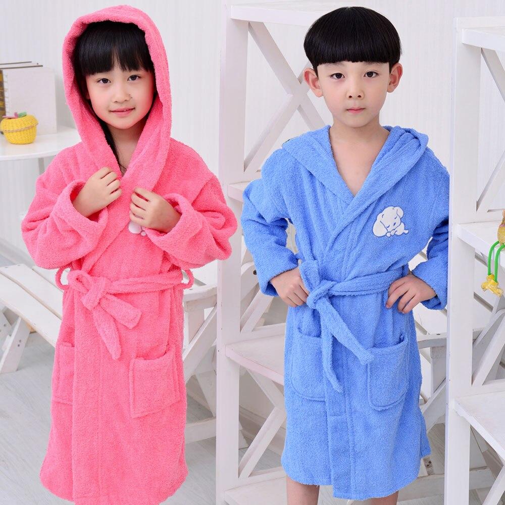 Robes Bathrobe Kids Boys Robe For Children 100% Cotton Warm Lengthen Robe Thicken Hooded Dressing Gown Men Towel Fleece Pajamas Underwear & Sleepwears