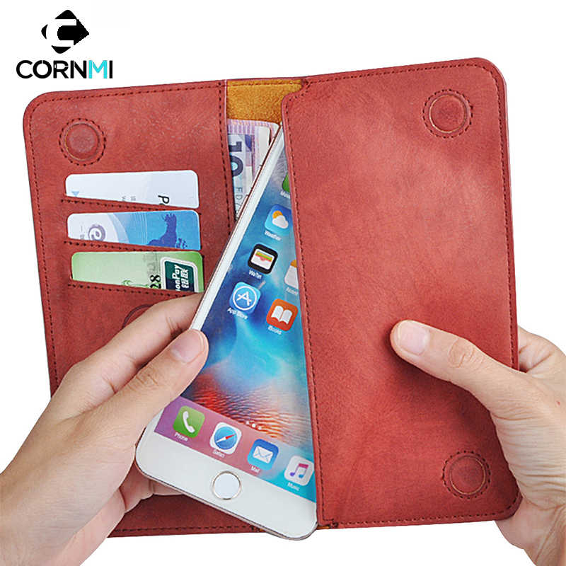 Universal Purse Phone Case For iPhone 7 Plus 8 X Cover For Xiaomi M6 6.0inch Flip Wallet Leather Pouch CORNMI