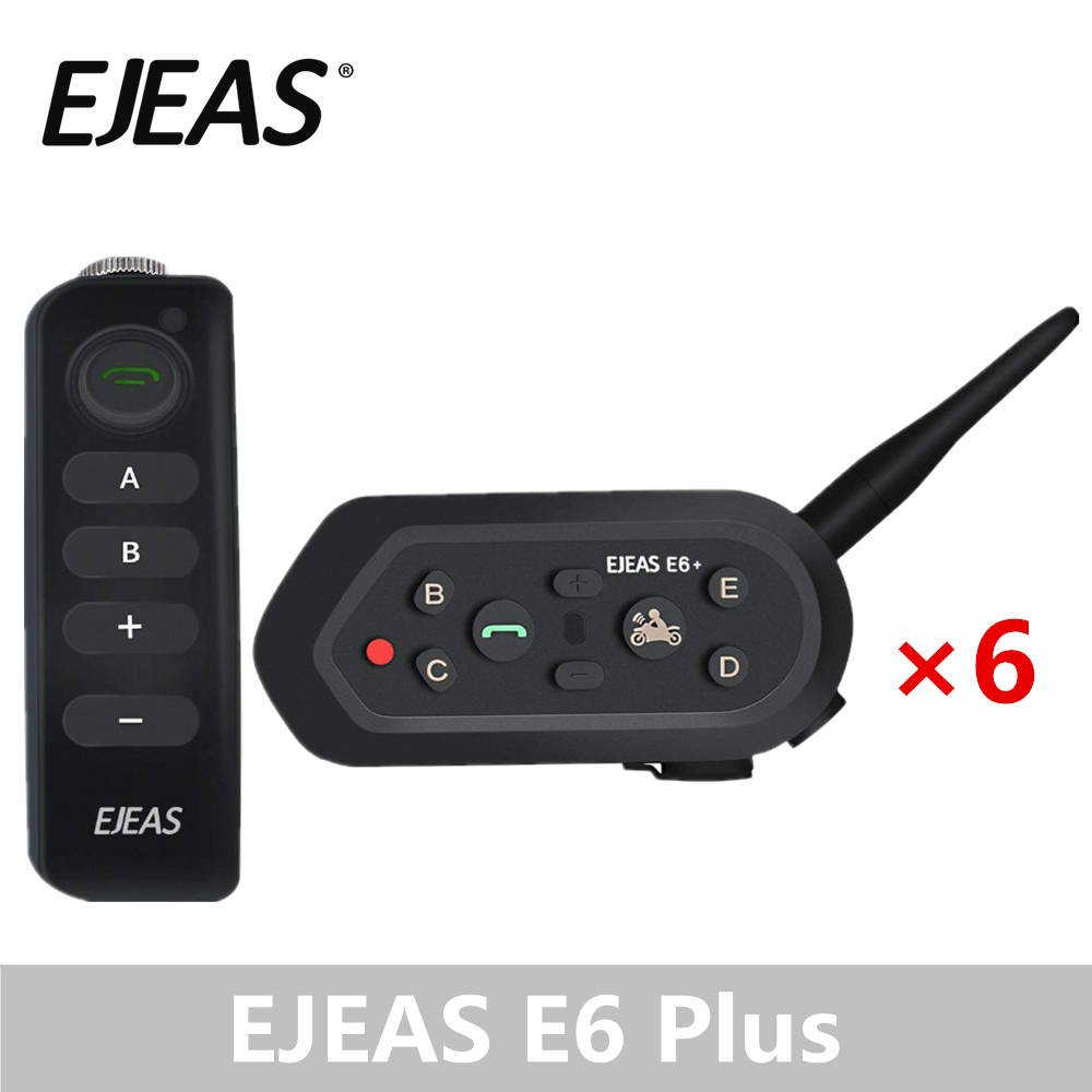 6 Pack EJEAS E6 Plus Motorcycle Intercom 1200M Bluetooth Helmet Interphone Headsets VOX With Remote Control For 6 Riders