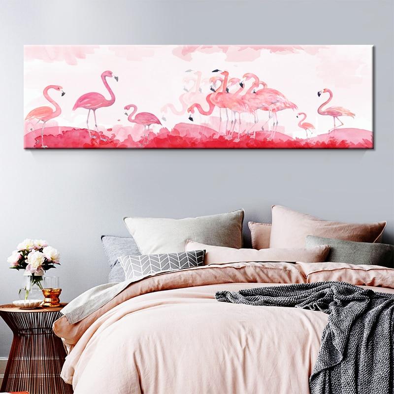 Flamant nordique fleur Art mural toile affiche rose minimaliste impression peinture scandinave décoration photo salon décor
