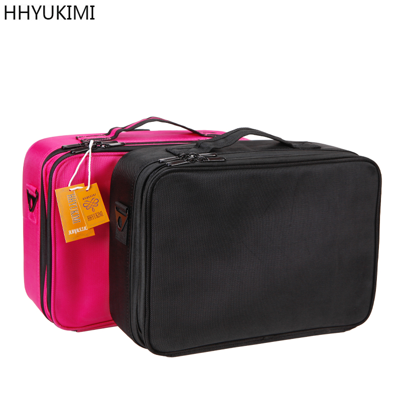 HHYUKIMI Double Layer Makeup Organizer Bag Professional Beautician Cosmetic Case Largest Travel Portable Waterproof Handbag