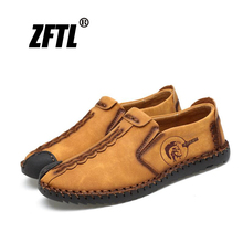 ZFTL Men Loafers Man Casual shoes Genuine Leather Men's Leisure Driving shoes Handmade Slip-on Big size 38-48 Breathable    027 bole brand handmade genuine leather men shoes design slip on breathable men driving shoes flats loafers shoes men big size 38 47