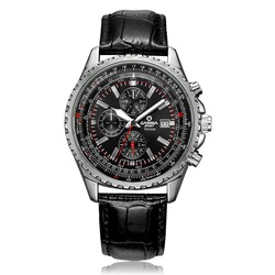 CASIMA Watches Men's Quartz Watch Chronograph Leather Band Luminous Waterproof Wristwatch TT@88