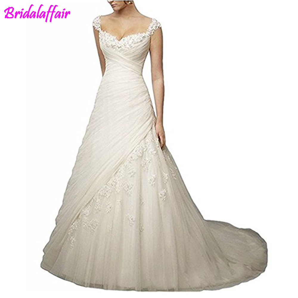 Ruching Wedding Gowns: 2019 Women's Noble A Line Sweetheart Wedding Dress Lace