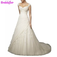 2019 Women's Noble A Line Sweetheart Wedding Dress Lace Long Bridal Gowns Applique Ruched Wedding Dress robe de mariee