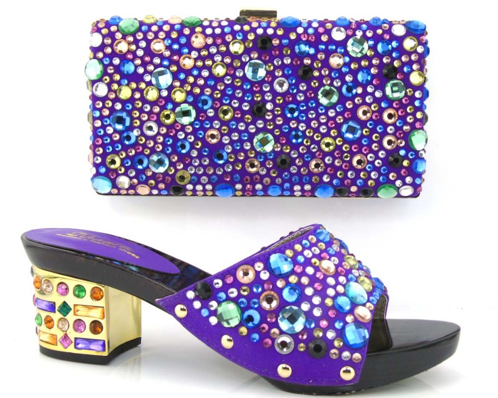 New Fashion purple ladies shoe and bag tomatch set matching shoes and bags italy shoe and