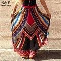 FANALA 2017 Women Long Skirt Summer  Bohemian Skirt  Colorful High Waist Print Beach Maxi Skirt Women pleated Style Plus Size