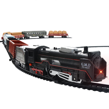 Electric Track Train Toy  Light Sound Children Simulation Classic Small Model DIY Assembling