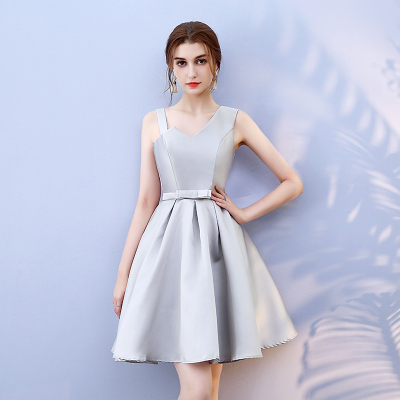 Bridesmaid Dress Above Knee Mini Dress Grey Colour Satin  New Women Dresses For Occasions Back Of Bandage