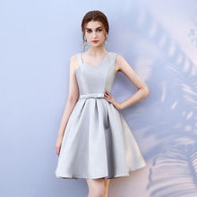 Bridesmaid Dress Above Knee Mini Grey Colour Satin  New Women Dresses for Occasions Back of Bandage