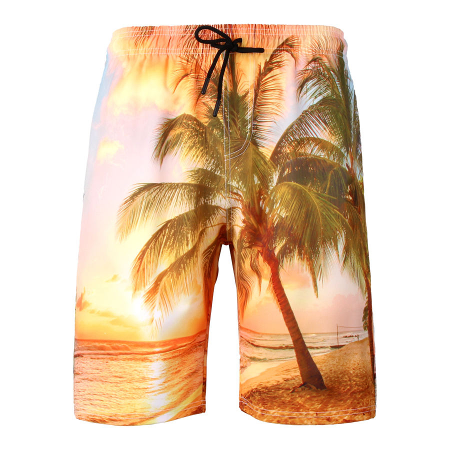 1a1787d5aabb Coco árbol puesta de sol 3xl 6xl secado rápido más pantalones cortos de  playa traje de baño ...