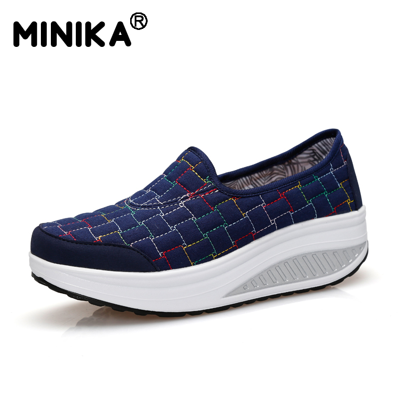 Minika Women Casual Canvas Shoes Flats Popular Female Breathable Height Increasing Health Lazy Wedges Swing Shoes Tenis Feminino vintage embroidery women flats chinese floral canvas embroidered shoes national old beijing cloth single dance soft flats