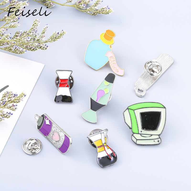 f3d215d1bbd Feiseli Cartoon Enamel Perfume Bottle Old Computer Telephone Shape Metal  Brooch Pins Lovely Corsage Badge Fashion