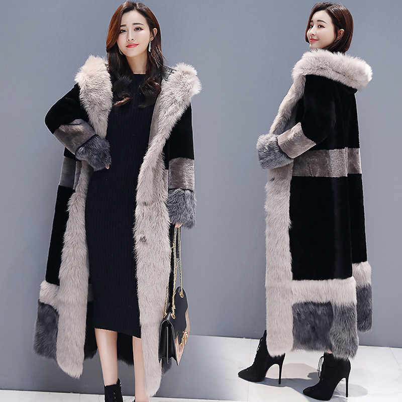 2019 New Autumn Winter Faux Fur Coat Women Clothes Plus Size fur collar Hooded Fashion Elegant Thick Warm Long Parkas Coat X944