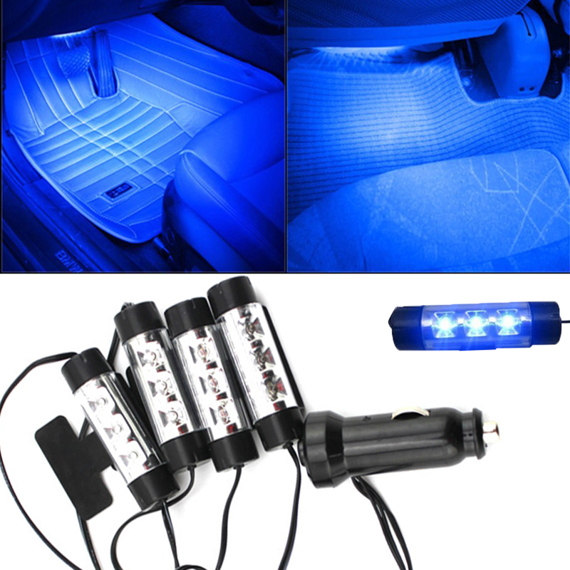 Attractive 4x 3LED Car Charge 12V 4W Glow Interior Decorative 4in1 Atmosphere Blue Light Lamp Atmosphere inside foot lamp high quality 4pcs 3 led universal car accessory glow interior decorative atmosphere light purple orange lamp