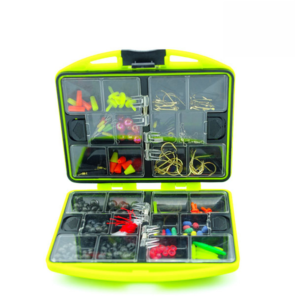 Double layer Fishing Accessories Box Promotion RockSurf Casting fishing tackle box Swivel Jig Hooks fishing tools set