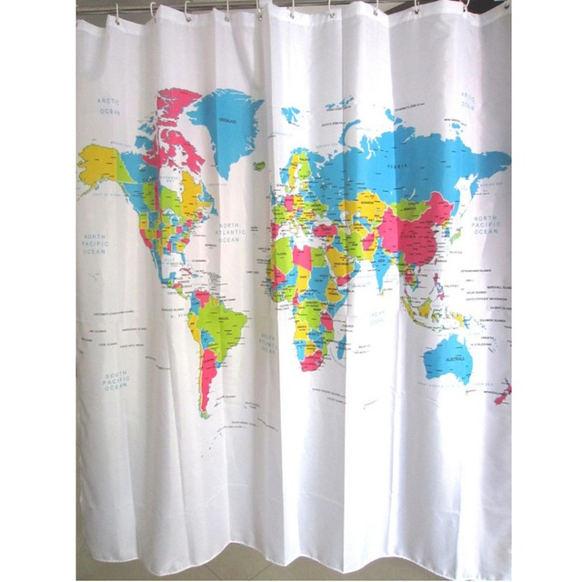180X180cm World Map Bath Shower Curtains With 12 White Plastic C