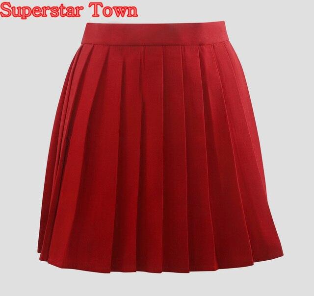 f895e441cb Plisado Falda faldas de mujer Rojo Faldas Plisadas Verano Mujer Faldas Ropa  Japón Harajuku Uniforme De