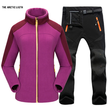 Woman Fishing Winter Waterproof Trekking Camping Hiking Outdoor Jacket Pant Suit Sports Fleece Jacket+Softshell Trouser dropshipping outdoor two piece men jacket hiking heated sport hunting jacket fleece trekking waterproof fishing coat jacket