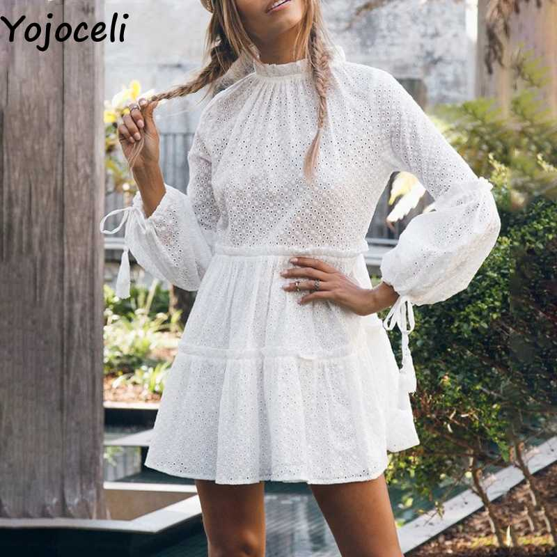 54e12cf01bdc0 Yojoceli Lace tassel ruffle dress women Autumn party short sexy ...