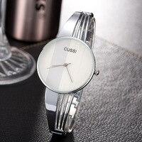 CUSSI Лидирующий бренд серебро женские часы кварцевые наручные часы Роскошные дамы браслет часы модное платье часы relogio feminino
