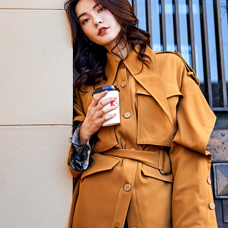 New Fashion Loose Women's Clothing Medium and Long Section Casual Female   Trench   Coat Autumn and Winter Ladies Coat Women coat