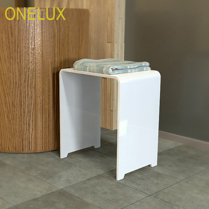 (2PCS/LOT)Waterfall Clear Acrylic Vanity Bathroom Shower Stool,Lucite U-Shape Occasional Small Side Tea Table -40W 30D 43H CM one lux plain and elegant clear transparent plexiglass acrylic bedside table with shelf 40w 30d 45h cm lucite nightstand