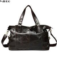High Quality Genuine Leather Man Bag Really Cowhide Men Travel Luggage Bags Vintage Mans Shoulder Bag