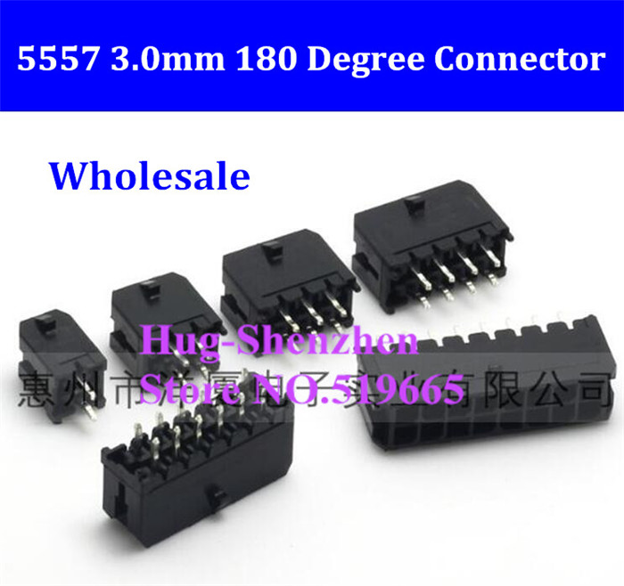 100PCS 5557 <font><b>Pin</b></font> Header 3.0mm Connector 2/4/6/8/10/<font><b>12</b></font>/14/<font><b>16</b></font>/18/20/22/24P Straight <font><b>Pin</b></font> 180 Degree Black PCB Wire Soldered image