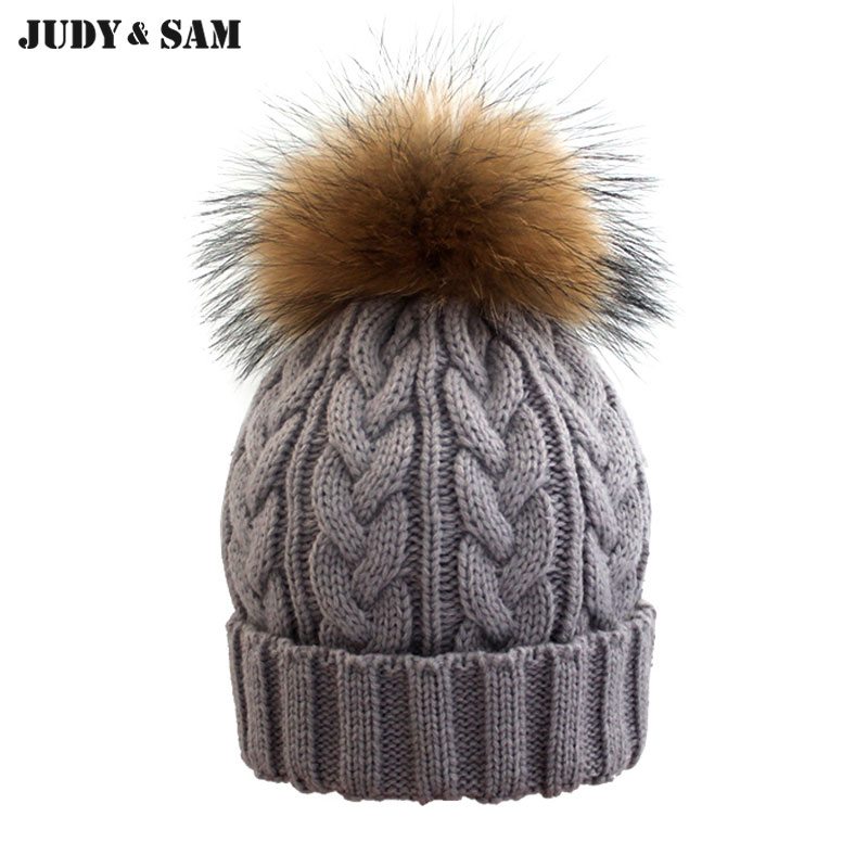 2015 Woolen Knitted Winter Hat Beanie With Fur For Girls Real Raccoon Pom Women Skullies Beanies Hats Caps  Apparel Accessories