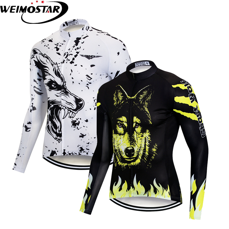 Weimostar Men s Long Sleeve Cycling Jersey Tops Wolf MTB Road Bike Jersey  Ropa Ciclismo Autumn Cycling b60cc7942