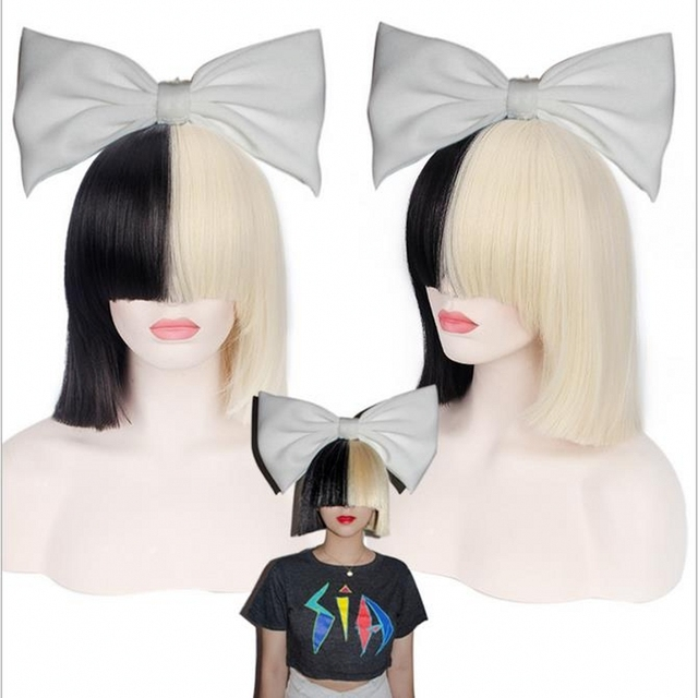 New High Quality Sexy Womens Sia Wig Medium Long Half Black And Blonde Cosplay Party