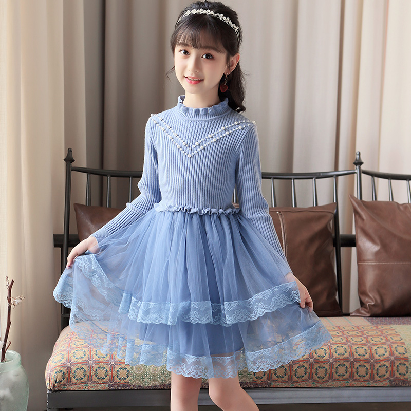 067816afe56 Kids Sweater Dress Teenage Toddler Girls Autumn Kids Clothes 2018 New  Winter Cute Baby Princess Dresses