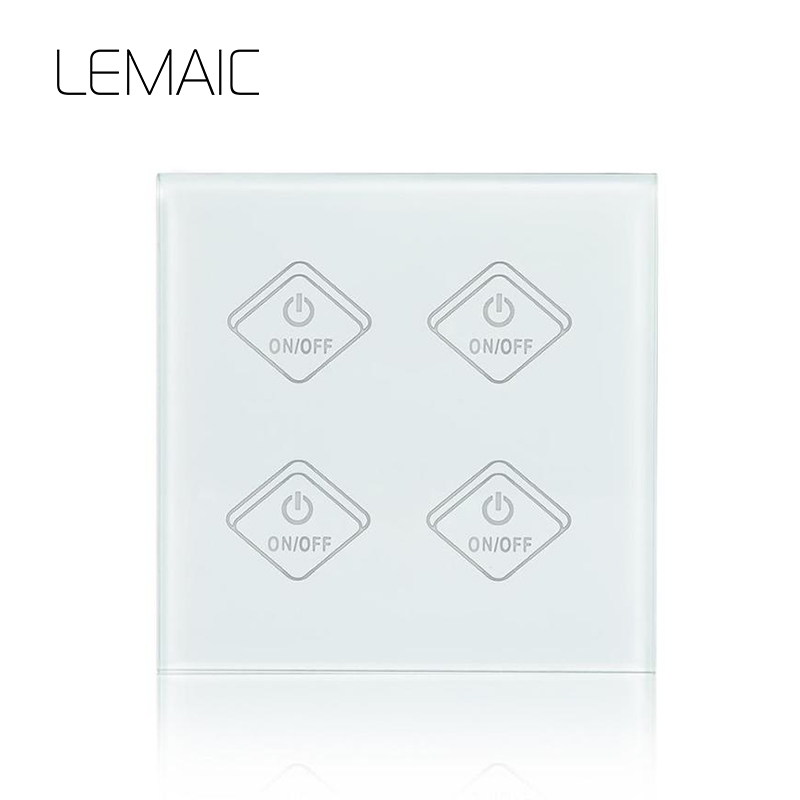 LEMAIC EU Touch LED Lights Switch for Smart Home Wireless Remote Switch Control Plug Wall Wifi Light Switch Glass Panel 4 Way smart home touch control wall light switch crystal glass panel switches 220v led switch 1gang 1way eu lamp touch switch