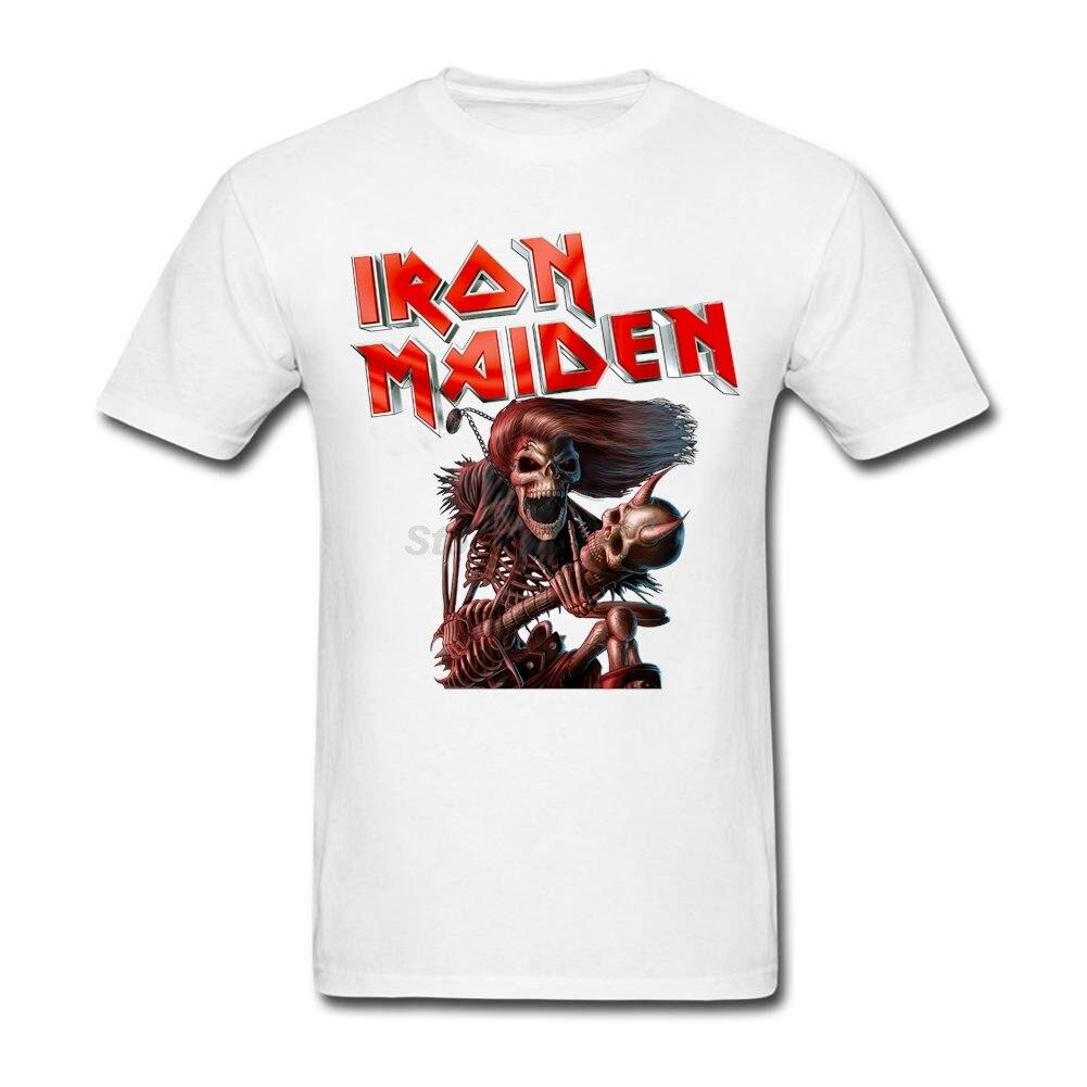 Design t shirt murah - Iron Maiden Men Red Tshirt Design Rock Band T Shirts With Hyperpin Wheel Art Cheap Natural