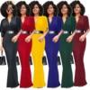 IMYSEN Summer Autumn Women Working Dress New Fashion Maxi Dress Solid SMLXLXXL Empire Half Sleeve OL