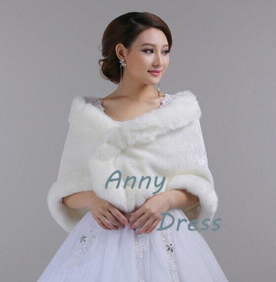 White faux fur shawl faux fur coat bridal winter dress for Fur shrug for wedding dress