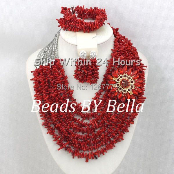 Graceful Red Coral Beads Jewelry Set African Beads Wedding Bridal Jewelry Chunky Layered Necklace Set Free Shipping ABC744 graceful rhinestoned three layered v shaped necklace for women
