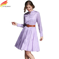 New 2017 Autumn Casual Big Swing Dress Women European Style Vintage Stand Loose Dresses Plaid Vestidos