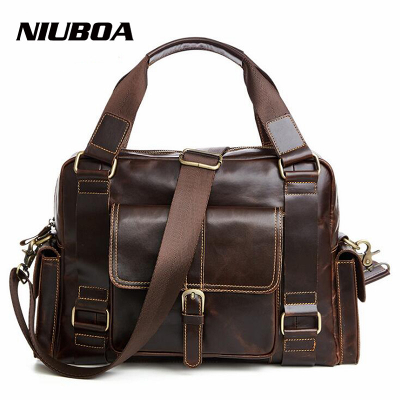 NIUBOA Men's 100% Genuine Leather Shoulder Bag Quality Men Messenger Bags Skin Cowhide Causal Crossbody Handbag Briecase Bags niuboa 100