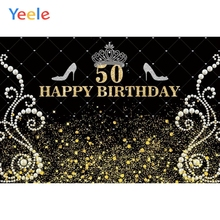Yeele High Heels Golden Crown Queen 50th Birthday Photography Background Customized Photographic Backdrop For Photo Studio