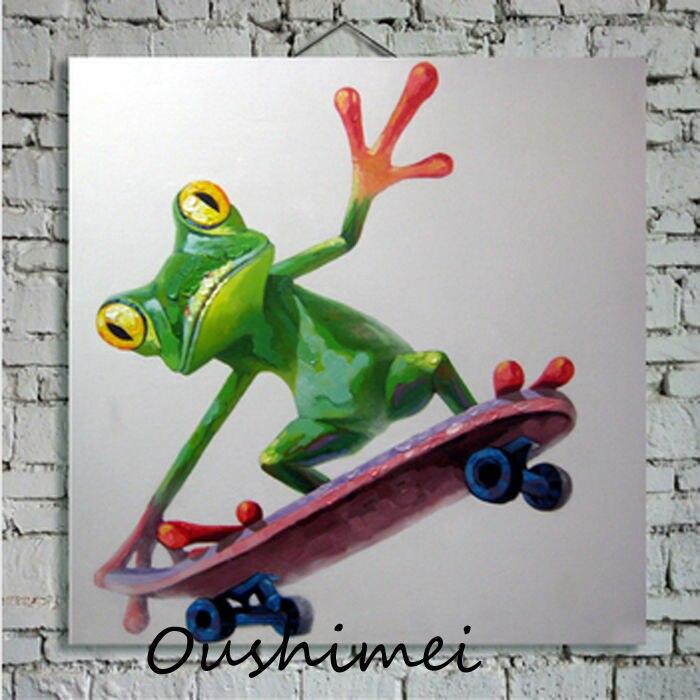 Billiger Frosch Auf Roller Cartoon Ölgemälde auf Leinwand Abstrakte ...