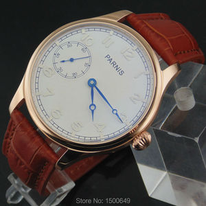 Image 4 - 44mm Parnis white Dial blue hands case Mechanical 6497  Hand Winding mens Watches