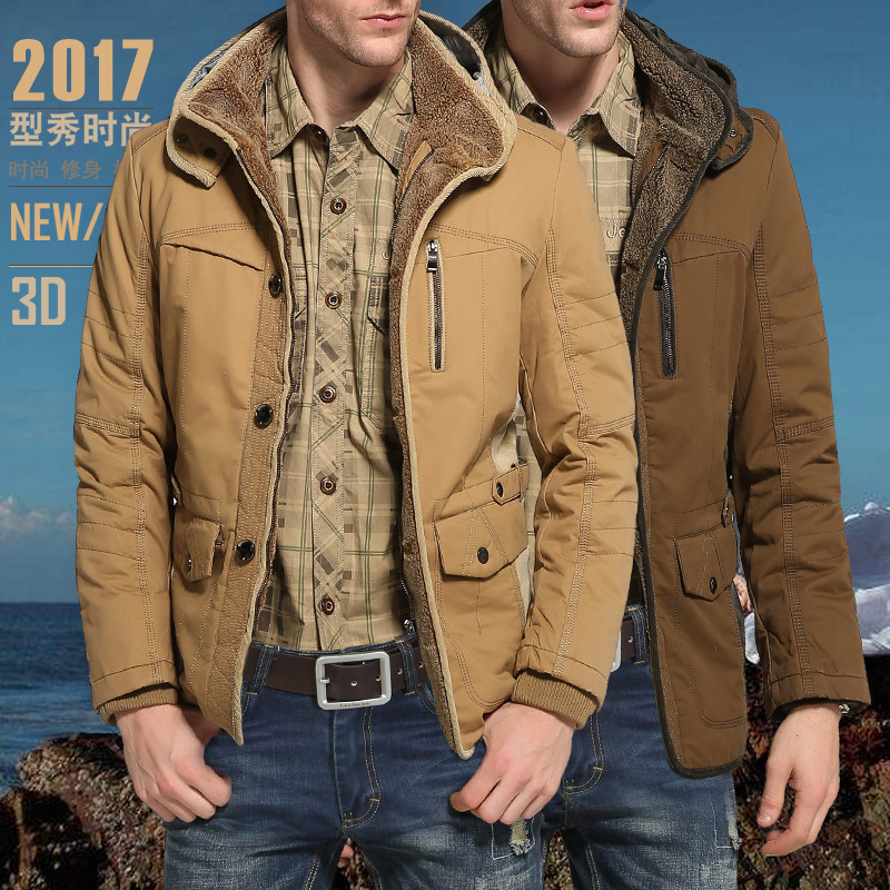 2017 font b Men s b font Casual font b Parkas b font Solid Fleece Winter