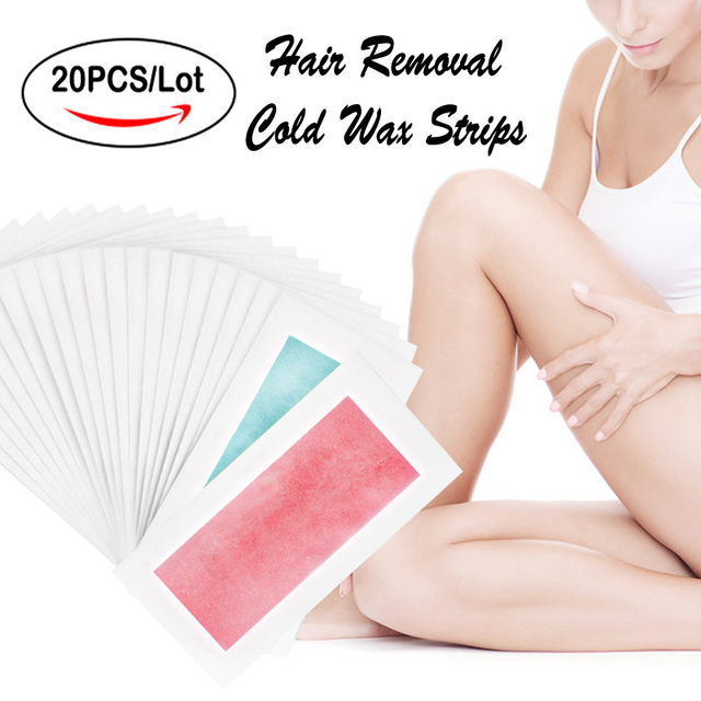 20PCS=10Sheets Summer Professional Hair Removal Wax Strips For depilation Double Sided Cold Wax Paper For Bikini Leg Body Face