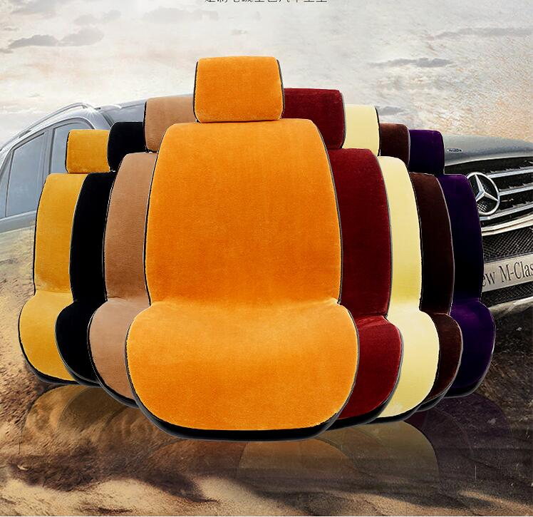 Front car seat covers faux fur cute car interior accessories cushion cover styling winter new plush car pad seat cover 2 Front