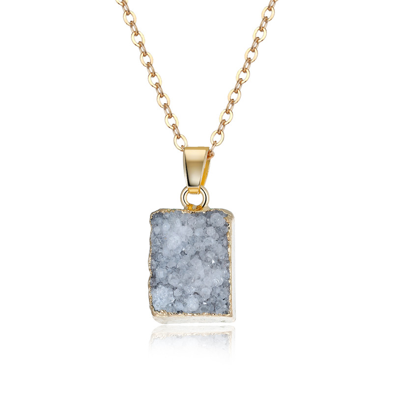 Dayoff Fashion Geometric Rectangle Pendant Necklace Druzy Drusy Neckalces For Women Jewelry Statement Sweater Chain N741